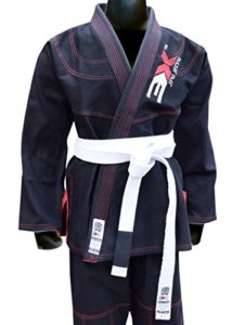 3X Professional Choice Judo suit bleached white judo uniform, kids judo suits, adult judo kimono. white judo training suits (Black, Jujitsu Suit A-2) -0