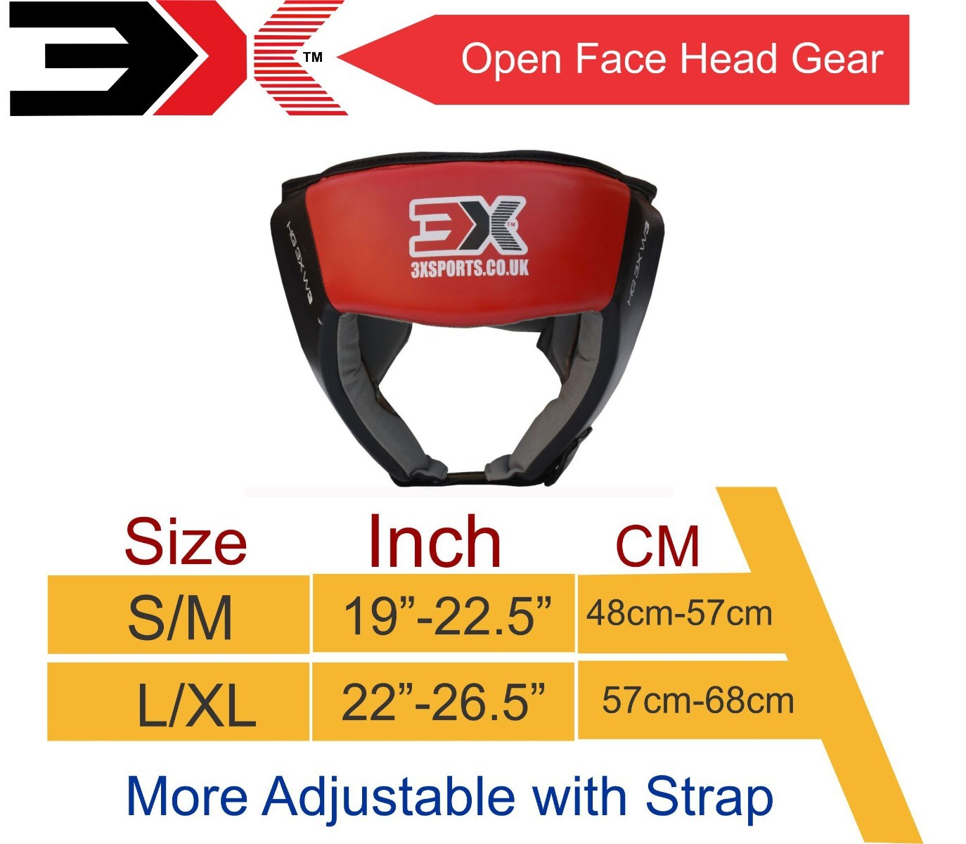 3X Sports Professional Choice HG-3X-01 Head Guard(RED)-1319