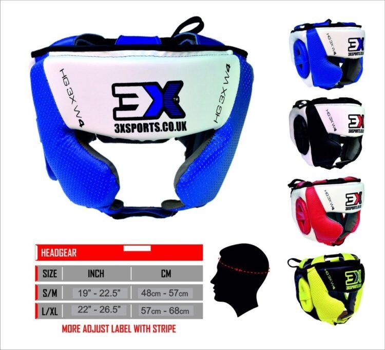 3X Sports Head Guard MMA UFC Martial Arts Muay Thai Kick Boxing Rugby Headgear Training Colour (Blue/White, Large/X-Large)-0