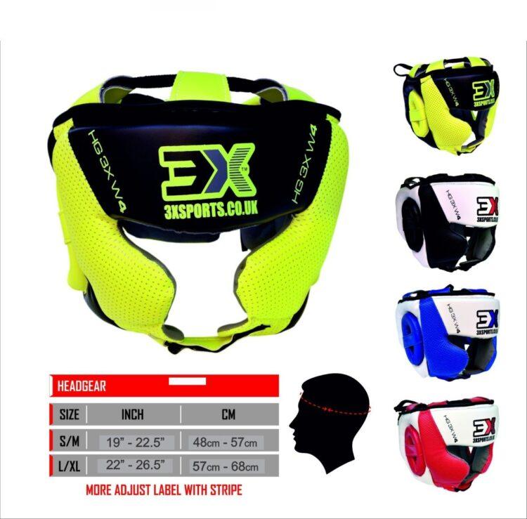 3X Sports Head Guard MMA UFC Martial Arts Muay Thai Kick Boxing Rugby Headgear Training Colour (Florescent, Large/X-Large)-0
