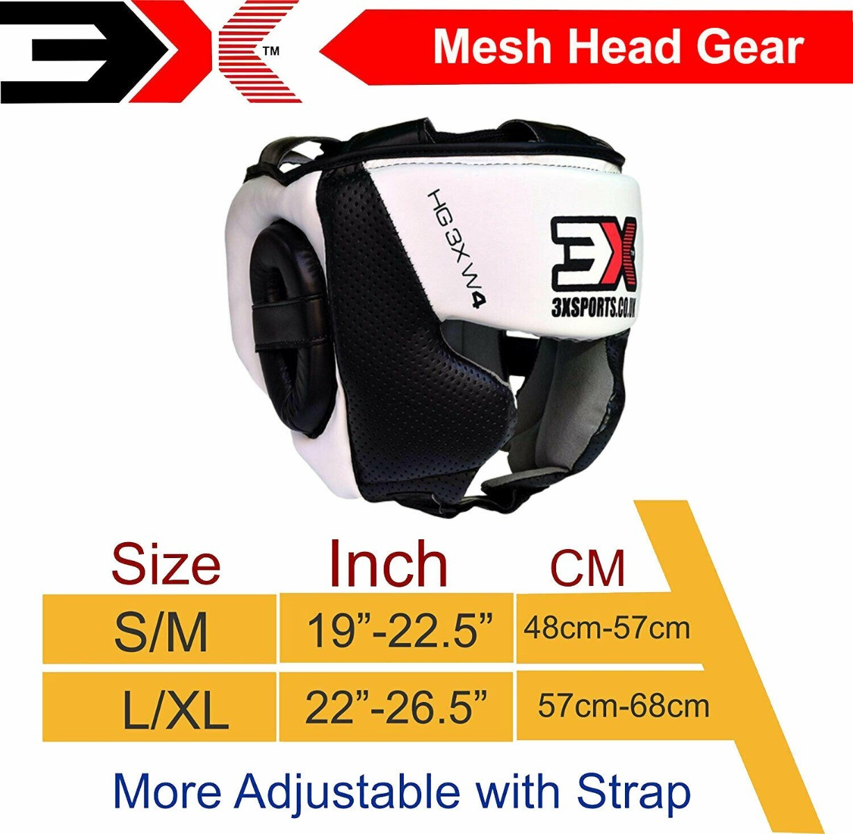 3X Sports Professional Choice HG-3X-03 Head Guard(Black/White)-1441