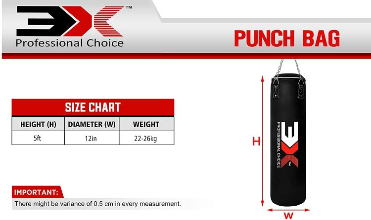 punch bag size chart